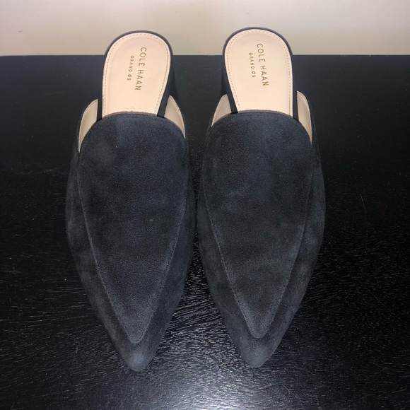 Black Suede Cole Haan Piper Mule Size